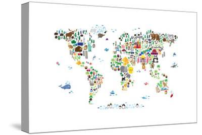 Animal Map of the World-Michael Tompsett-Stretched Canvas Print