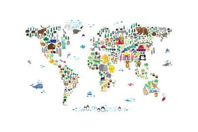 Animal Map of the World-Michael Tompsett-Art Print