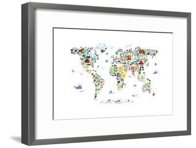 Animal Map of the World-Michael Tompsett-Framed Art Print