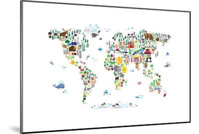Animal Map of the World-Michael Tompsett-Mounted Art Print