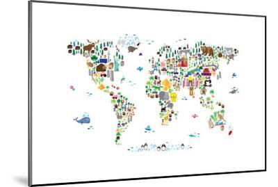 Animal Map of the World-Michael Tompsett-Mounted Premium Giclee Print