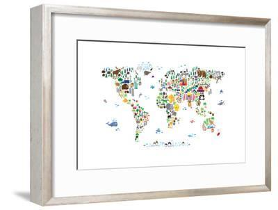 Animal Map of the World-Michael Tompsett-Framed Premium Giclee Print