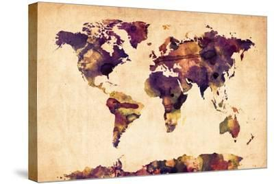 World Map Watercolor-Michael Tompsett-Stretched Canvas Print