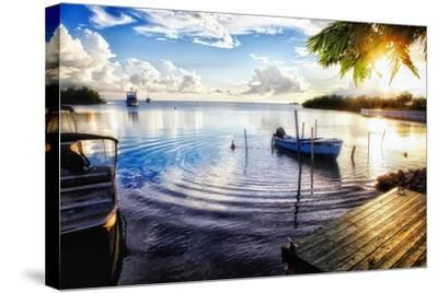 Sunset in a Fishing Village, Puerto Rico-George Oze-Stretched Canvas Print
