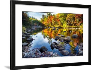 Colorful Trees Along the Swift River New Hampshire-George Oze-Framed Photographic Print