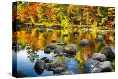 Autumn Foliage River Reflections-George Oze-Stretched Canvas Print