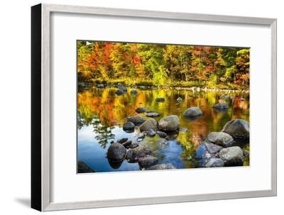Autumn Foliage River Reflections-George Oze-Framed Photographic Print