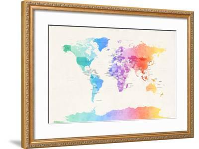 Watercolour Political Map of the World Art Print by Michael Tompsett ...