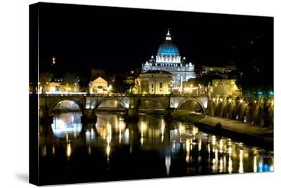 St Peters Rome At Night-Charles Bowman-Stretched Canvas Print