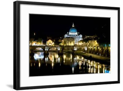 St Peters Rome At Night-Charles Bowman-Framed Photographic Print
