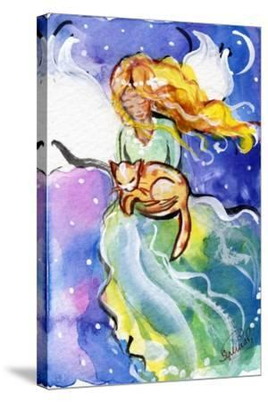 Guardian Angel with Cat-sylvia pimental-Stretched Canvas Print