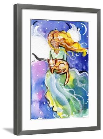 Guardian Angel with Cat-sylvia pimental-Framed Art Print