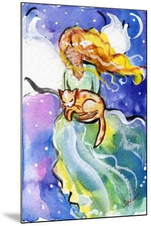 Guardian Angel with Cat-sylvia pimental-Mounted Art Print