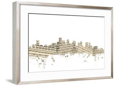 Boston Massachusetts Skyline Sheet Music Cityscape-Michael Tompsett-Framed Art Print
