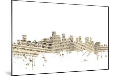 Boston Massachusetts Skyline Sheet Music Cityscape-Michael Tompsett-Mounted Art Print