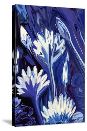 Lotus in Blue-Rabi Khan-Stretched Canvas Print