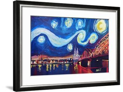 Starry Night in Cologne - Van Gogh Inspirations-Markus Bleichner-Framed Art Print