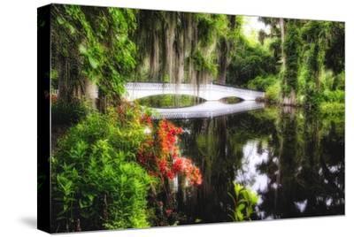 Little White Plantation Bridge-George Oze-Stretched Canvas Print