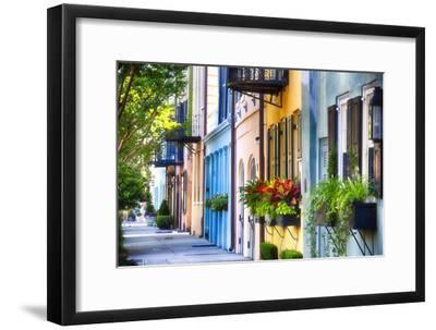 Rainbow Row I, Charleston South Carolina-George Oze-Framed Photographic Print