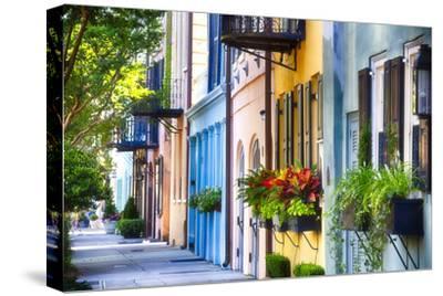 Rainbow Row I, Charleston South Carolina-George Oze-Stretched Canvas Print