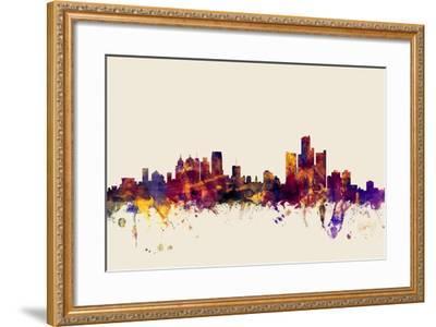 Detroit Michigan Skyline-Michael Tompsett-Framed Art Print