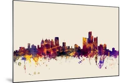 Detroit Michigan Skyline-Michael Tompsett-Mounted Art Print