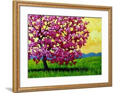 Pink Blossom Tree and Yellow Sky-Patty Baker-Framed Art Print