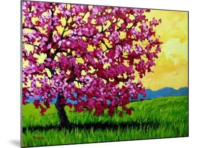 Pink Blossom Tree and Yellow Sky-Patty Baker-Mounted Art Print