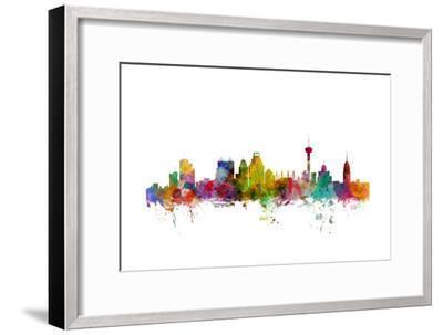 San Antonio Texas Skyline-Michael Tompsett-Framed Art Print