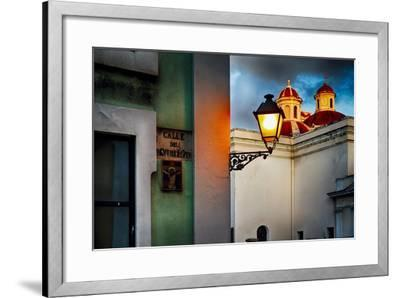 Old San Juan Street Corner With A Cathedral-George Oze-Framed Photographic Print