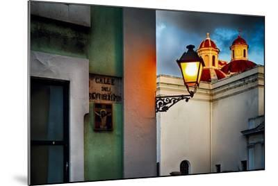 Old San Juan Street Corner With A Cathedral-George Oze-Mounted Photographic Print