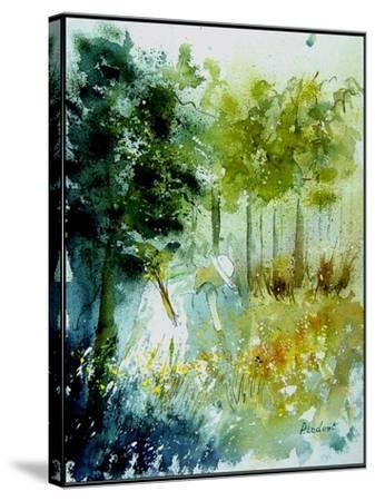 Watercolor Picking Flowers-Pol Ledent-Stretched Canvas Print