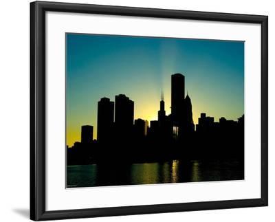Chicago Skyline Silhouette From Navy Pier-Patrick Warneka-Framed Photographic Print