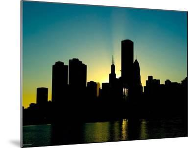 Chicago Skyline Silhouette From Navy Pier-Patrick Warneka-Mounted Photographic Print