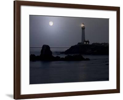 Pigeon Point Lighthouse At Full Moon-George Oze-Framed Photographic Print