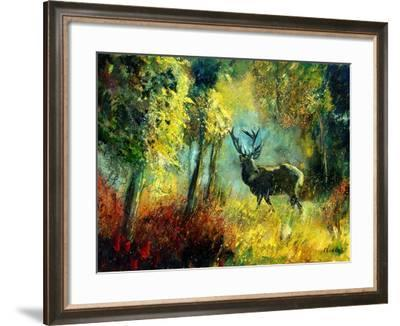A Stag in the Wood-Pol Ledent-Framed Art Print