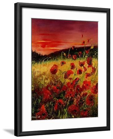 Red Poppies Sunset-Pol Ledent-Framed Art Print