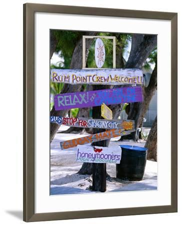 Fun Signpost at Run Point, Cayman Islands-George Oze-Framed Photographic Print