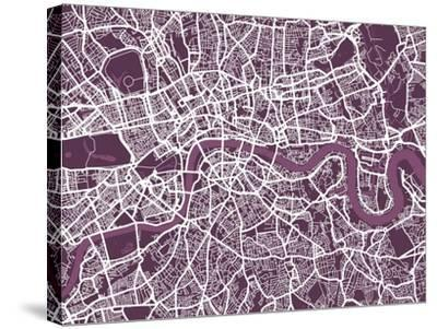 London England Street Map-Michael Tompsett-Stretched Canvas Print