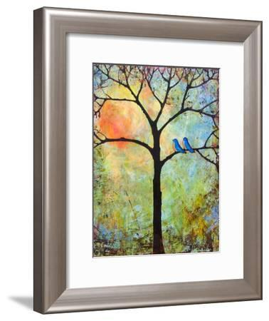 Tree Print Art Birds Sunshine Bluebirds-Blenda Tyvoll-Framed Art Print
