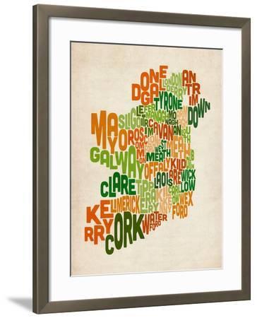 Ireland Eire County Text Map-Michael Tompsett-Framed Art Print