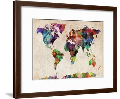 World Map Urban Watercolour-Michael Tompsett-Framed Art Print