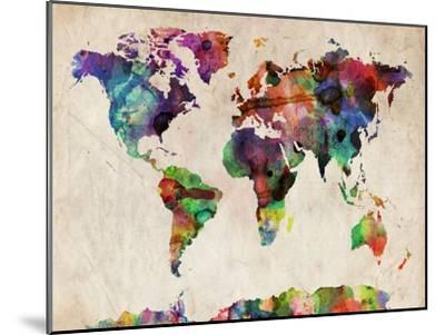 World Map Urban Watercolour-Michael Tompsett-Mounted Art Print