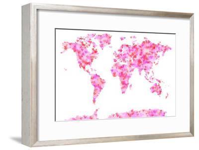 Love Hearts Map of the World Map-Michael Tompsett-Framed Art Print