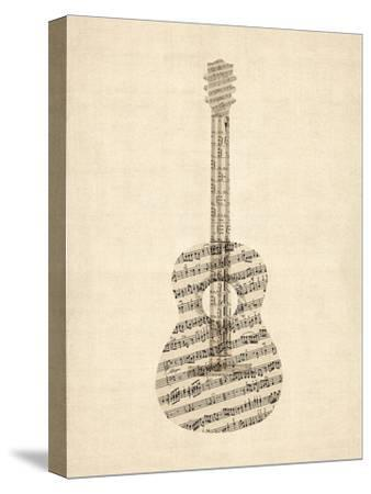 Old Sheet Music Acoustic Guitar-Michael Tompsett-Stretched Canvas Print