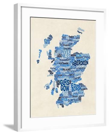Scotland Typography Text Map-Michael Tompsett-Framed Art Print