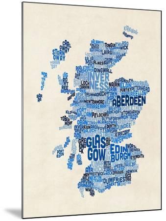 Scotland Typography Text Map-Michael Tompsett-Mounted Art Print