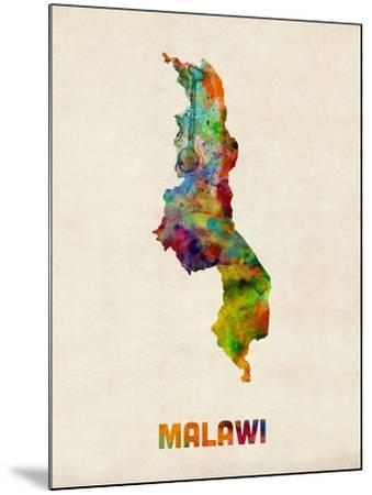 Malawi Watercolor Map-Michael Tompsett-Mounted Art Print