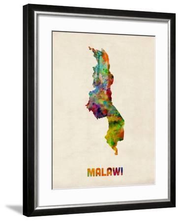 Malawi Watercolor Map-Michael Tompsett-Framed Art Print