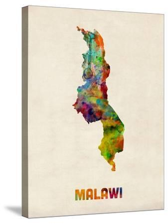 Malawi Watercolor Map-Michael Tompsett-Stretched Canvas Print